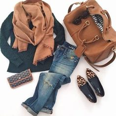 d77d27f964297 comfy travel outfit: camel scarf, faux leather weekender bag, boyfriend  jeans, leopard flats or switch flats for thigh high boots