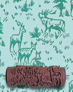 Patterned Paint Roller in Aspen Frost Design from Not Wallpaper Moose and Nature wall stencil. $22.50, via Etsy.