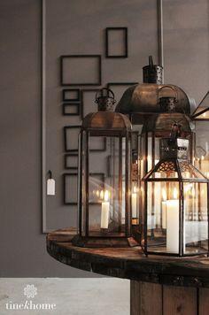 Lanterns and candles Lanterns Decor, Candle Lanterns, Candle Sconces, Hurricane Lanterns, Home Interior, Interior And Exterior, Hygge, Decoration, Light Fixtures
