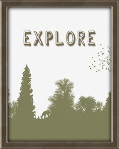 Explore. Woodland print in avocado green, with trees, deer and birds.  This print is from Quotes for Kids -  Quotes for Kids is a set of twelve matching 8X10, ready to frame and hang wall art prints for children. Perfect for a boy's or girl's bedroom. Colors: teal, coral, avocado, beige, and brown. Click the picture for more info. Framed Wall Art, Wall Art Prints, Teal Coral, Quotes For Kids, Bedroom Colors, Art For Kids, Woodland, Boy Or Girl, Deer