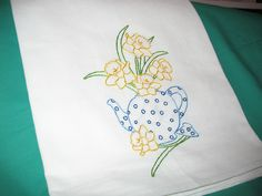 DAFFODILS IN A TEAPOT-New hand embroidered 30 X 30 flour sack tea/dish towel