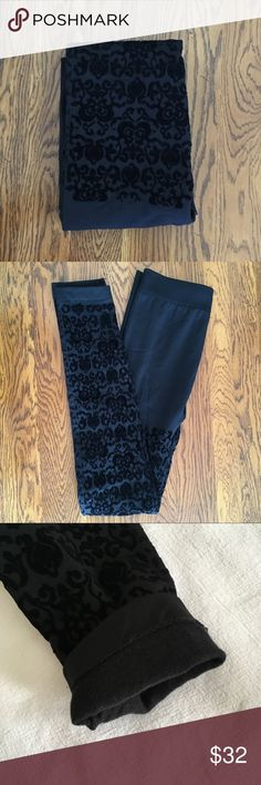 """🎉JUST IN🎉 NWOT lined flocked velvet leggings NWOT super soft and cozy fleece lined flocked velvet leggings with scroll pattern. Leggings are black/very dark charcoal gray...I used the flash in the pics to capture the design. Plus size C/D (5'1""""-6'0"""" and 195-275 lbs) from Lane Bryant. Measurements available upon request. 🚫No holds 🚫No Lowball Offers 🚫No Trades ✅Please submit reasonable offers via the offer button or 🎁 bundle & save! Lane Bryant Pants Leggings"""