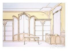Interior Design for a Fashion Shop, Illustration from 'Menuiserie D'Art Nouveau' Published C.1900 Lámina giclée