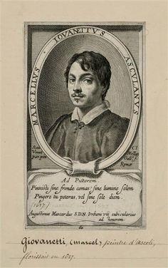 Gravure de Claude Mellan, d'après Simon Vouet, Portrait de Marcello, Giovannetti