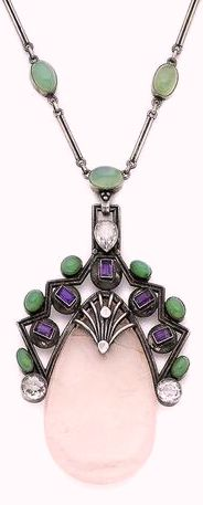 A rose quartz, chrysoprase and topaz pendant necklace, by H. G. Murphy, 1931 The pear-shaped rose quartz suspended in a fluted silver frame set with white topaz, step-cut amethysts and cabochon chrysoprase, to a similar necklace, maker's mark HGM, Falcon Studio mark, rose quartz repaired near apex, pendant length 8.0cm, necklace 58.5cm