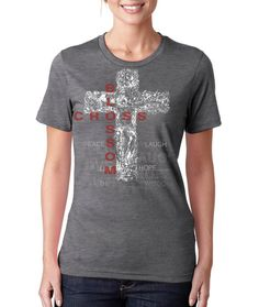 Women's Double Blossom Cross Tshirt heather by BlossomCross