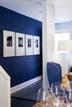 "Cobalt A New Shade of Blue – Their Pick is ""Big Country Blue"" by Benjamin Moore. Design by Samatha Pynn."