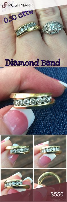 14k Gold 7 Diamond .50 cttw Ring Stunning 14k Solid Yellow Gold .50 cttw 7 Diamond Ring. Size 6, sizable. Marked 14k. Weight 4.04 grams. This ring is beautiful, has 7 round cut diamonds that equal .50 cttw! Preowned/ Preloved 💝 Ring has surface scratches consistent w/ wearing it but can easily be buffed by a jeweler if desired. Please ask any ?'s b4 purchase. I ship same day! Please make any reasonable offers through the offer feature only, no low ball or trade. Buy w/ confidence 400 5 star…