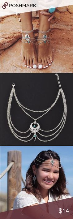 Foot/body jewelry 😍 Beautiful anklet, head of let jewelry. Silver in color with a hint of turquoise. Jewelry Bracelets