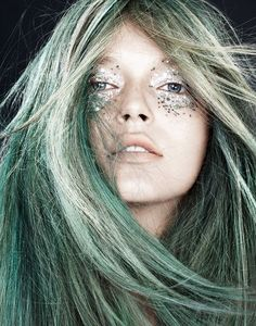 Mermaid #look #makeup green and silver #glitter