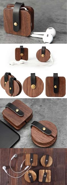 Leather Wooden Headphone Earphone Wrap Winder Charge Cable Cord Organizer Manager