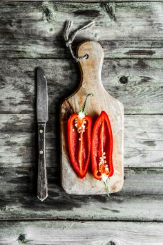 Colorful peppers on rustic background by Alena Haurylik Still Life Photography, Food Photography, Rustic Background, Still Life Photos, Slow Food, Cooking Recipes, Design Inspiration, Herbs, Stuffed Peppers