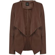 Oasis Waterwall drape coat ($27) ❤ liked on Polyvore featuring outerwear, coats, jackets, coats & jackets, casacos, camel, women, camel coat, long sleeve coat and brown coat