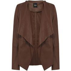 Oasis Pu waterwall drape coat found on Polyvore