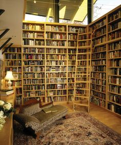 interesting windows above the wall/bookshelf (too many bookshelves..)