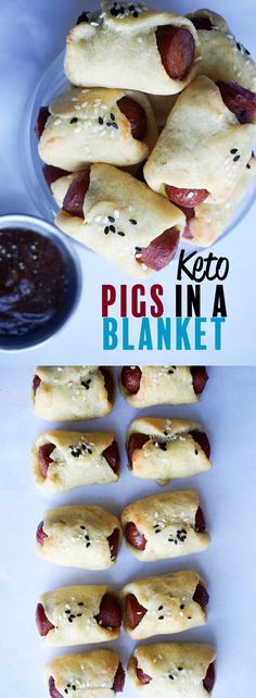 30 Best Keto Snacks For Weight Loss: Delicious Keto Pigs In A Blanket. These delicious & healthy keto snacks help you maintain ketosis and won't break your ketogenic diet. If you're looking for quick and easy keto diet snacks to have on the go, check thes Ketogenic Recipes, Low Carb Recipes, Diet Recipes, Cooking Recipes, Healthy Recipes, Pescatarian Recipes, Recipies, Zoodle Recipes, Recipes Dinner