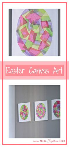 Easy Easter Egg Canvas Art! This Easter Egg craft for kids is made with tissue paper and glue.