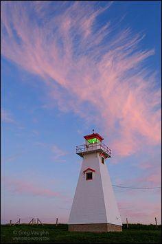 Cape Tryon Lighthouse at dusk; Prince Edward Island, Canada.