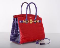 Hermes Birkin Bag 30CM Crocodile Braise Red with Violet Hermes Birkin d81c3c8b9e13c