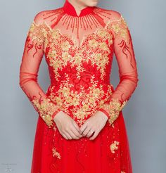 Red and Gold Ao Dai- Vietnamese Bridal Dress with Embellishment (#KALEY)