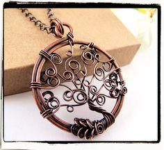 Antique Copper Swirls Tree of Life Pendant