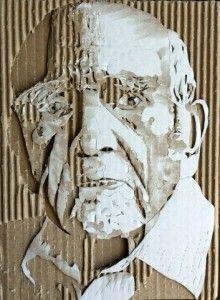 ダンボールで作った肖像画 / Cardboard Relief Portraits by Giles Oldershaw Cardboard Painting, Cardboard Sculpture, Cardboard Crafts, Sculpture Art, Art Carton, Cardboard Relief, L'art Du Portrait, Paperclay, Ap Art