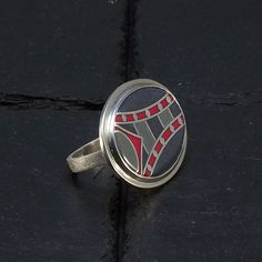 Items similar to Cloisonne Enamel Ring - size 7 ring - Architectural Motif Tower - Gray Burgundy Ring - Silver Ring - Handmade Ring - Unique Ring on Etsy Handmade Jewelry, Unique Jewelry, Handmade Gifts, Beautiful Gifts, Gifts For Mom, Cufflinks, Enamel, Rings, Accessories