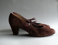 1960s suede ankle strap heels