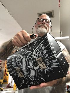 Painted Letters, Painted Signs, Hand Painted, Steel Lunch Box, Pinstripe Art, Hydro Dipping, Custom Airbrushing, Esoteric Art, Garage Art
