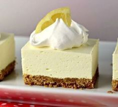 """No Bake Lemon Cheesecake Squares is a great dessert for this time of year! The tart lemon no-bake """"cheesecake"""" filling sitting atop a traditional graham cracker crust will have your mouth singing and…MoreMore Mini Desserts, Brownie Desserts, No Bake Desserts, Easy Desserts, Delicious Desserts, Oreo Dessert, Coconut Dessert, Dessert Bars, No Bake Lemon Cheesecake"""