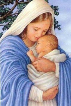 Mary Holding Baby Jesus.