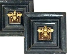 Museum Bee Collection by Trace Mayer. Made with Recycled Antique American Frames and Gilt Brass Ormolu Bees.