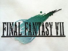 Final Fantasy VII logo cross stitch COMPLETE! by GreyRemnant.deviantart.com on @DeviantArt