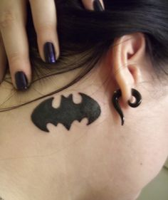 batman tattoo! I want this but closer to the hair line and a bit smaller:)