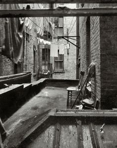"by Dorothea Lange June 1936. ""View out of rear window tenement dwelling of Mr. and Mrs. Jacob Solomon, 133 Avenue D, New York City. The Solomon family are all on the accepted list for resettlement at Hightstown, New Jersey."" Medium-format nitrate..."