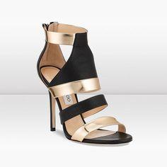 Black vachetta leather and gold mirror leather sandal - Jimmy Choo