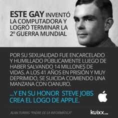 Allan Turing invented computers, and Honoring Him Steve Jobs created the apple logo.