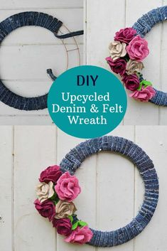 This gorgeous denim wreath for all seasons is simply made from leftover scraps from other projects. Felt scraps for the roses and jeans seams for the base. #diywreath Diy Furniture Projects, Diy Sewing Projects, Craft Projects, Projects To Try, Felt Wreath, Diy Wreath, Wreath Ideas, Door Wreaths, Autumn Crafts