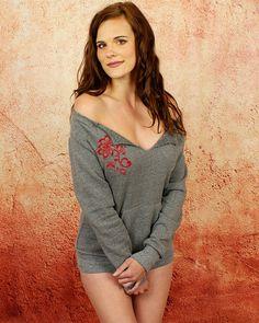 Red Rose #Sweatshirt- Grey Sexy Off the Shoulder Soft Stylish Feminine #Sweater Custom Colors By #GoddessGearDesigns  $39.50