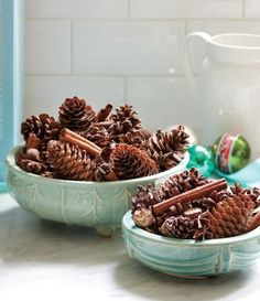 What a festive idea - decorate your winter table with pine cones and cinnamon sticks! Pine cones are available for shipping seasonally at GrowersBox.com (from around mid-November through right before Christmas) and are a great choice for the DIY bride to incorporate into wedding centerpieces and bouquets as well.