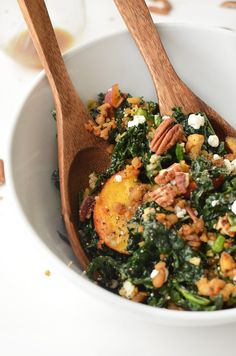 Freekah, Kale and Peach Salad! Topped with Crispy Tempeh bits, Goat Cheese &  a Maple-Dijon Dressing.