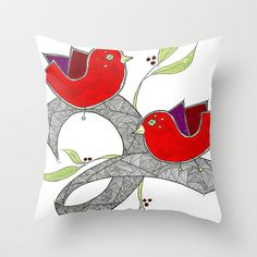 Red Birds Throw Pillow by Casey Virata - $20.00