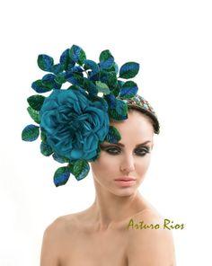 Emerald Green /Turquoise Fascinator, Cocktail hat, derby hat, Melbourne cup fascinators, headband fasciantor,