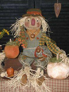 Primitive Folk Art Raggedy Ol' Scarecrow Doll*Prim Pumpkins*Harvest*Fall Decor* #NaivePrimitive #SharonHall