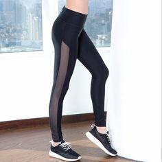 Stylish Mesh Stripe Black Fitness Leggings For Yoga & Training