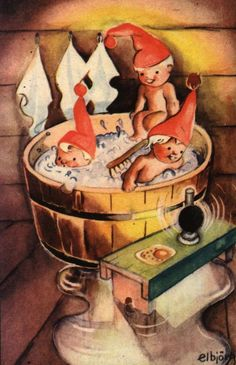 Tub full of gnomelets! Parts Of The Earth, Elves And Fairies, Legendary Creature, Illustrations, Red Hats, Christmas Cards, Christmas Postcards, Gnomes, Kos