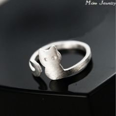 Fres Shipping 2015 New Pure 925 Sterling Silver Rings Open Cat Ring For Girl Women Gift Jewelry