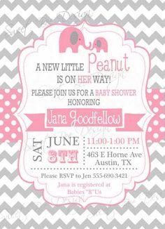Elephant Baby Shower Invitation  Custom by SweetBeeDesignShoppe, $12.00