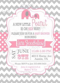 Elephant Baby Shower Invitation  Custom by SweetBeeDesignShoppe, $12.00