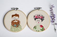 Embroidery Hoop Art Illustration of a Man with by ElenaCaron#elenacaron #hipster #presentfor guys #beards #beard # embroideryhoopart #embroidery #custom #art #textile #textileart #handstitch #hipsterart #present #homedecor